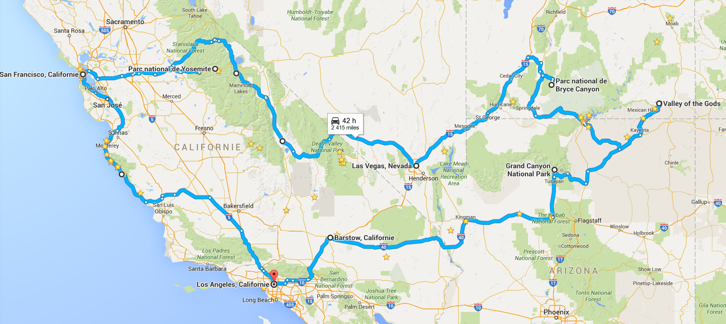 Itinéraire dans l'Ouest