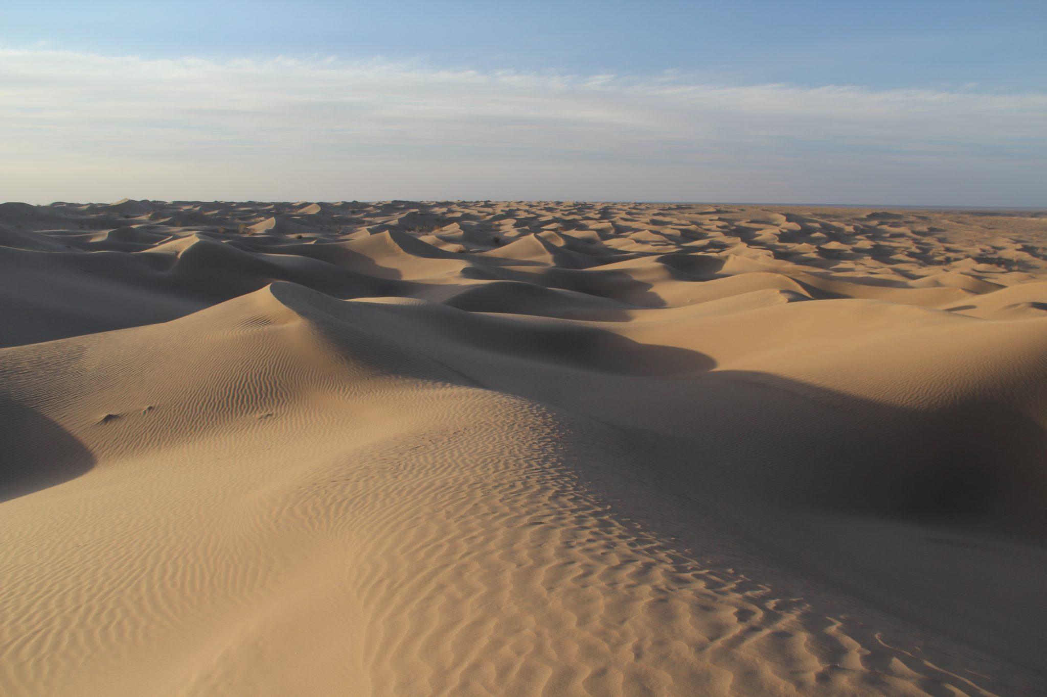 Marcher dans les dunes de Mesr